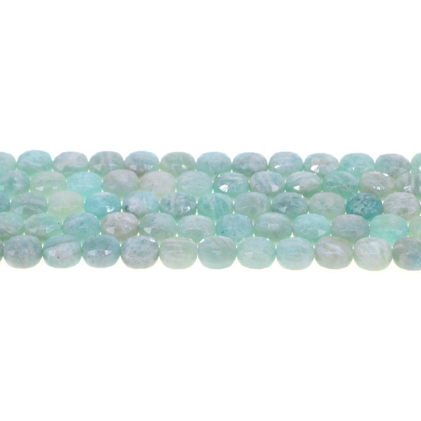 Russian Amazonite Coin Puff Faceted Diamond Cut 8mm x 8mm x 5mm - Loose Beads