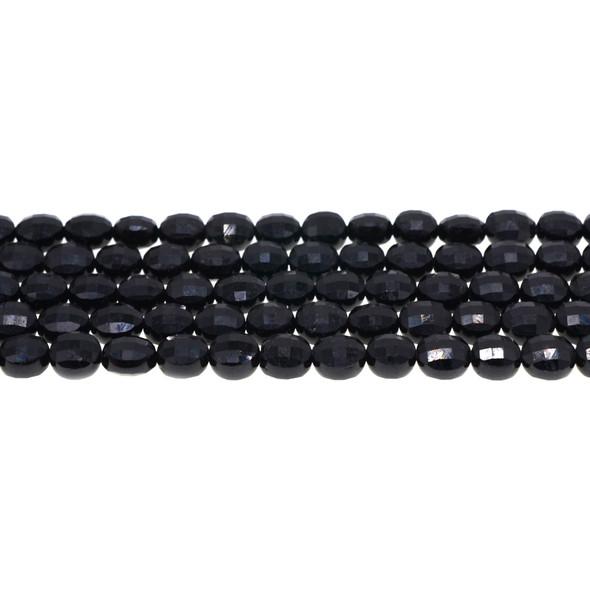 Black Tourmaline Coin Puff Faceted Diamond Cut 8mm x 8mm x 5mm - Loose Beads