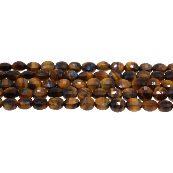 Tiger Eye Coin Puff Faceted Diamond Cut 8mm x 8mm x 5mm - Loose Beads
