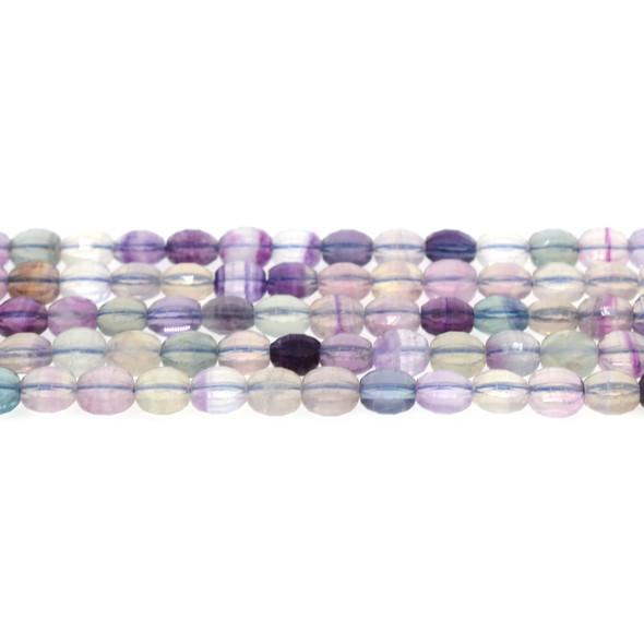 Fluorite Coin Puff Faceted Diamond Cut 8mm x 8mm x 5mm - Loose Beads