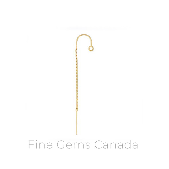 14K Gold Filled - U-Threader Earring Cable Chain w/Ring (Type 1) - 4/pack