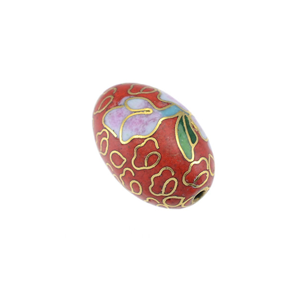 Cloisonne Oval Bead Red 12x18mm (6Pcs)