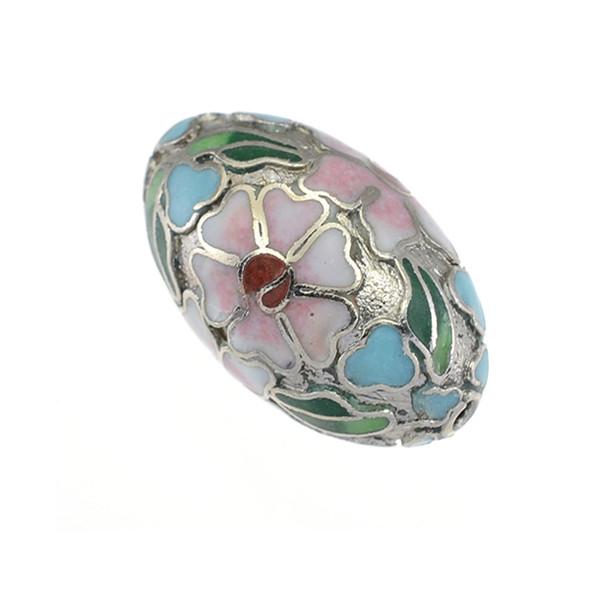 Cloisonne Oval Bead Silver 15x25mm (4Pcs)
