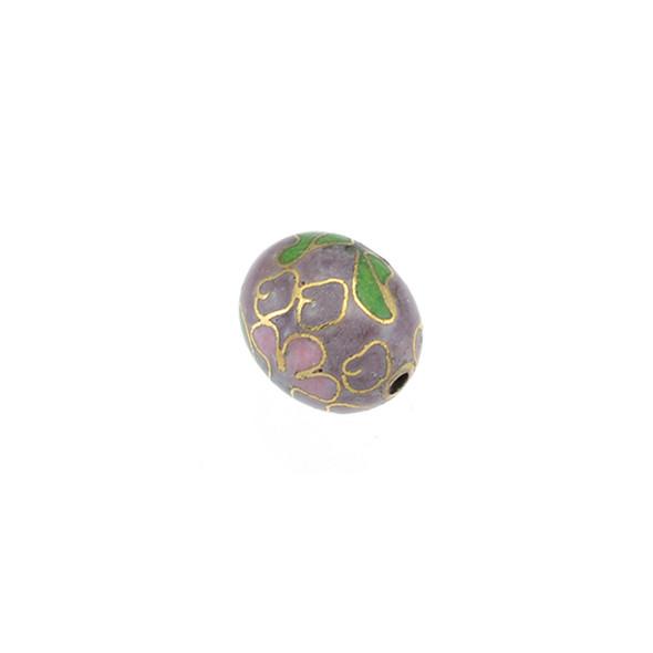 Cloisonne Oval Bead Purple 9x11mm (10Pcs)