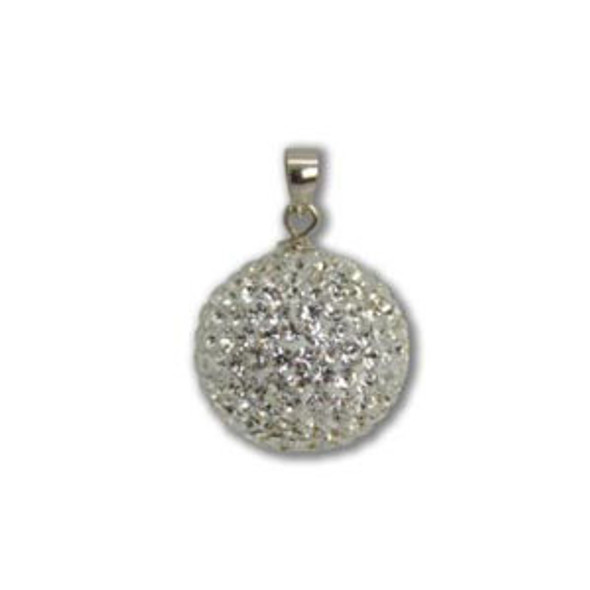 16mm White Crystal Pendant - 925 Sterling Silver