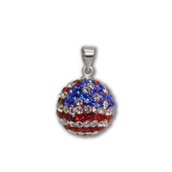 14mm US Flag Crystal Pendant - 925 Sterling Silver