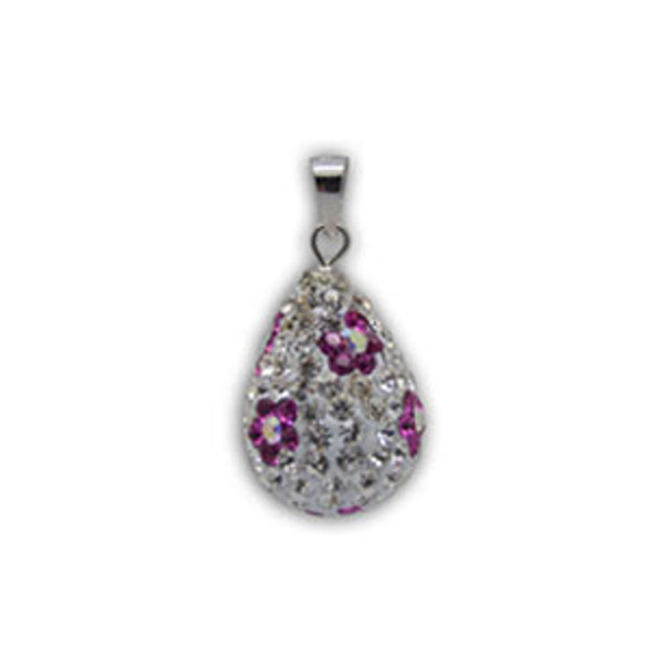 16mm Teardrop with Fushia Flower Pendant - 925 Sterling Silver