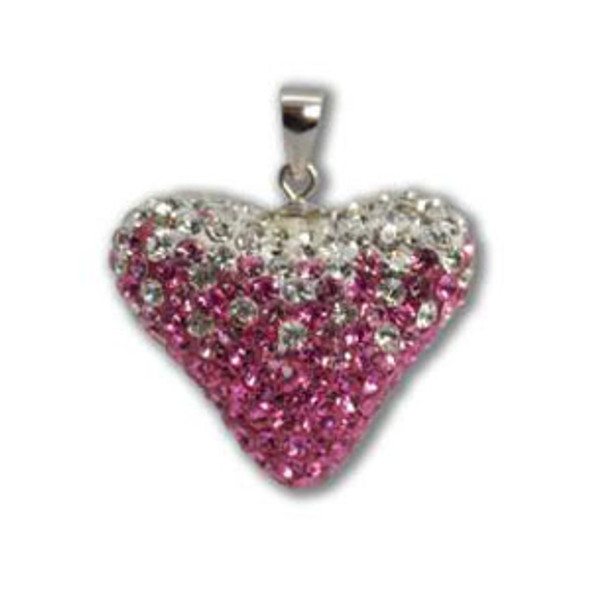 Large Rose/Lt. Rose/Crystal Heart Pendant - 925 Sterling Silver