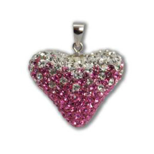 Large Rose/Lt. Rose/Crystal Heart Pendant - 925 Sterling Silver
