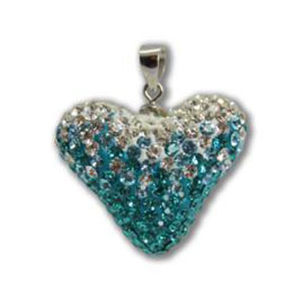 Large Blue Zircon/Aquamarine/Crystal Heart P. - 925 Sterling Silver
