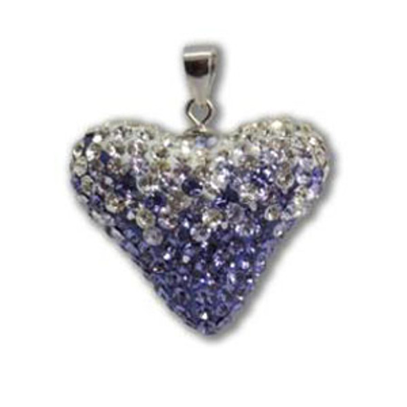Large Tanzanite/Lt. Amt/Crystal Heart Pendant - 925 Sterling Silver