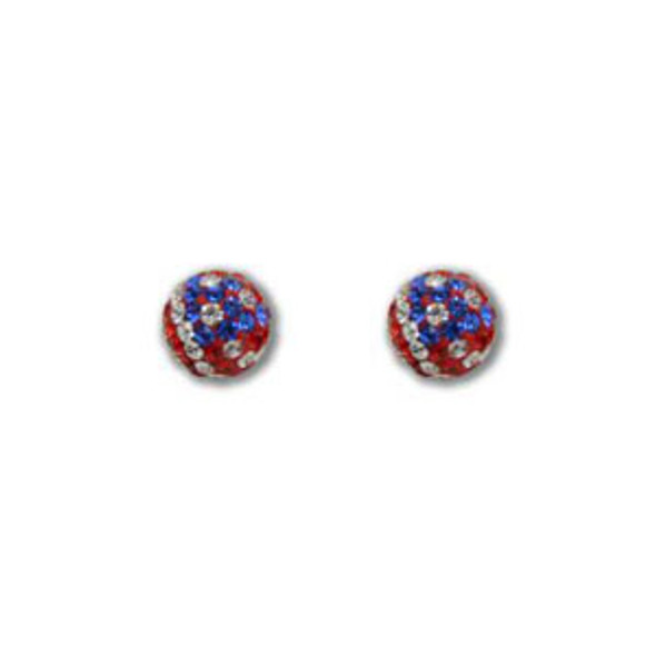 8mm US Flag Crystal Earrings - 925 Sterling Silver
