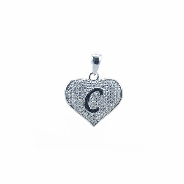 Sterling Silver Heart C (Micro Setting)
