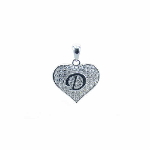 Sterling Silver Heart D (Micro Setting)