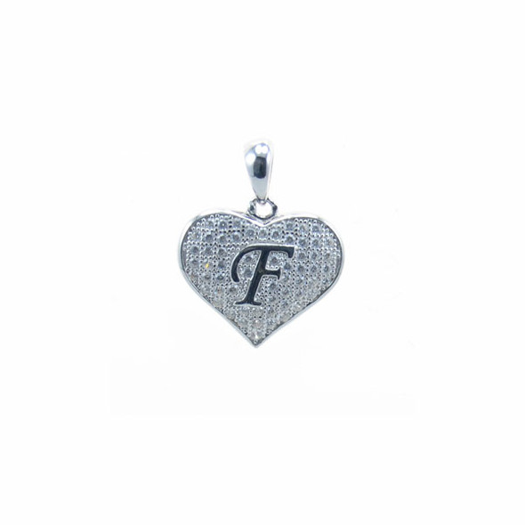 Sterling Silver Heart F (Micro Setting)