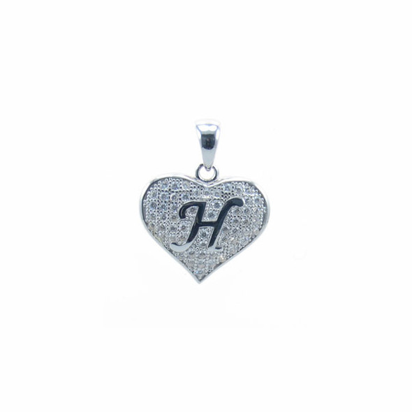 Sterling Silver Heart H (Micro Setting)