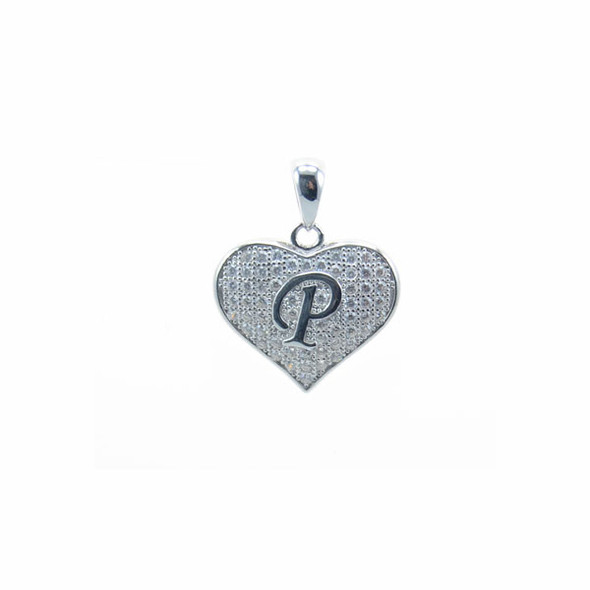 Sterling Silver Heart P (Micro Setting)