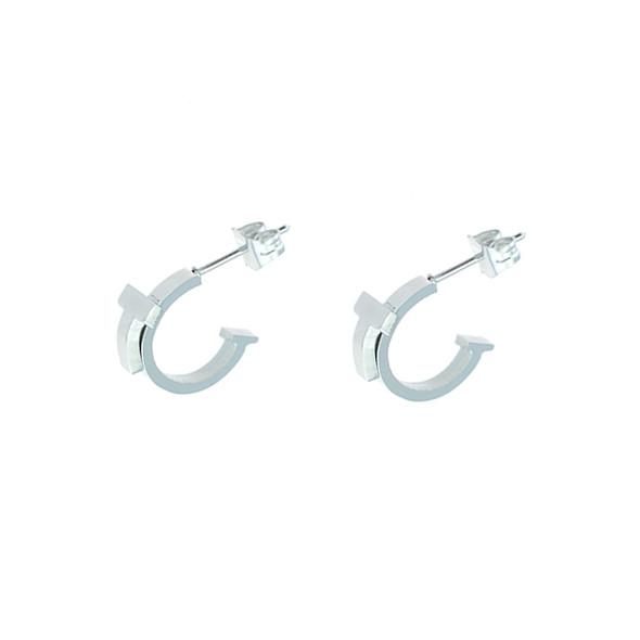 """Stainless Steel """"T"""" C Stud Earrings"""