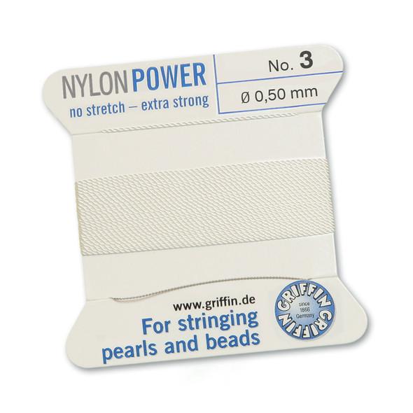 Griffin NylonPower Cord 2m 1 Needle - Size 3 White