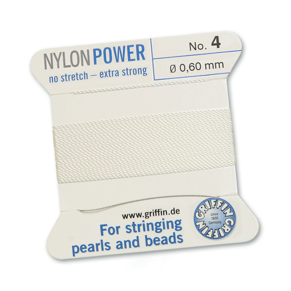 Griffin NylonPower Cord 2m 1 Needle - Size 4 White