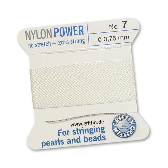 Griffin NylonPower Cord 2m 1 Needle - Size 7 White