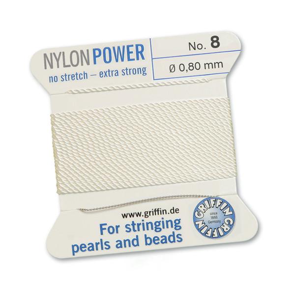 Griffin NylonPower Cord 2m 1 Needle - Size 8 White