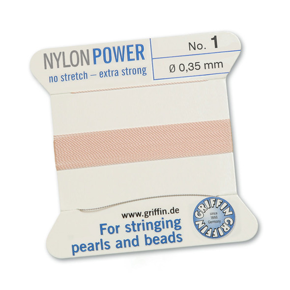Griffin NylonPower Cord 2m 1 Needle - Size 1 Light Pink