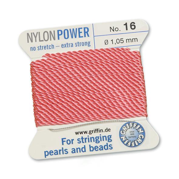 Griffin NylonPower Cord 2m 1 Needle - Size 16 Dark Pink