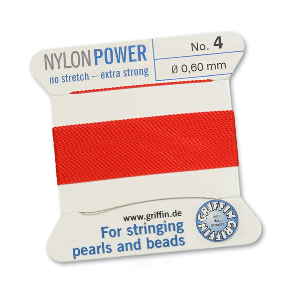 Griffin NylonPower Cord 2m 1 Needle - Size 4 Red