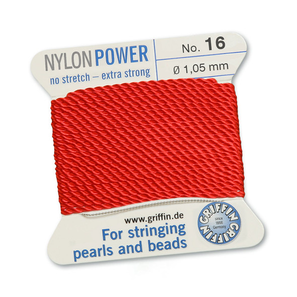 Griffin NylonPower Cord 2m 1 Needle - Size 16 Red