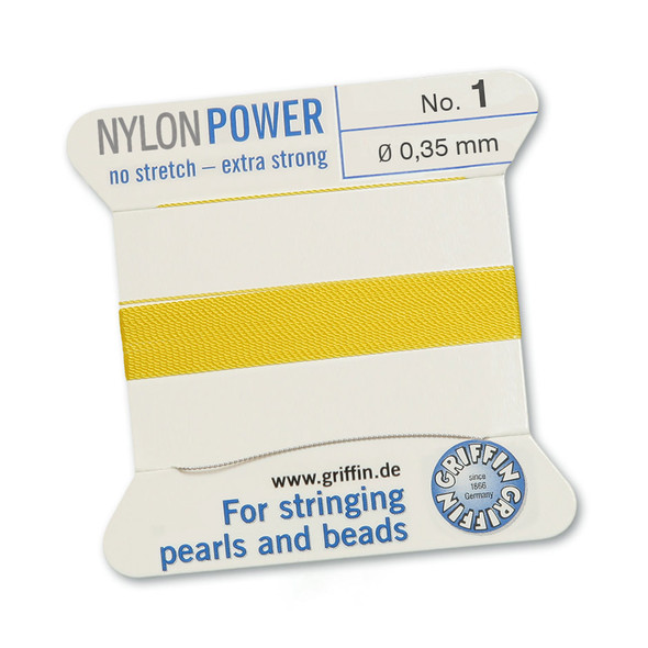Griffin NylonPower Cord 2m 1 Needle - Size 1 Yellow