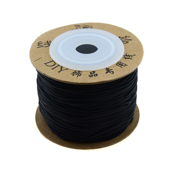 Premium Nylon Macrame Cord 0.8mm - Black (80 Meters)