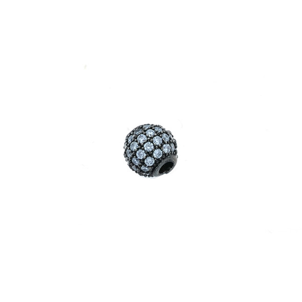6mm Microset White CZ Round Beads (Black Rhodium Plated)
