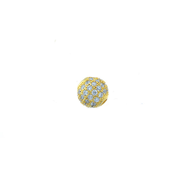 6mm Microset White CZ Round Beads (Gold Plated)