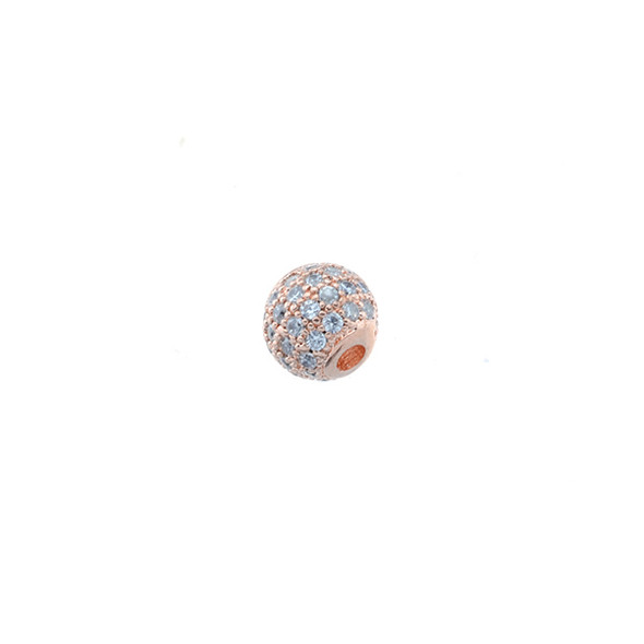 6mm Microset White CZ Round Beads (Rose Gold Plated)