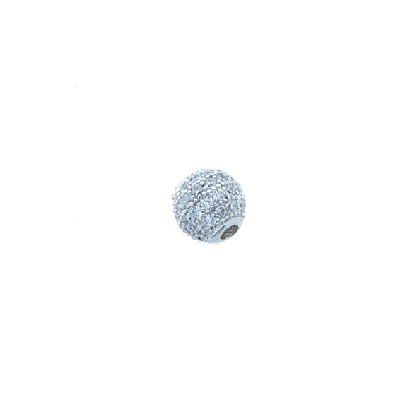 6mm Microset White CZ Round Beads (Rhodium Plated)