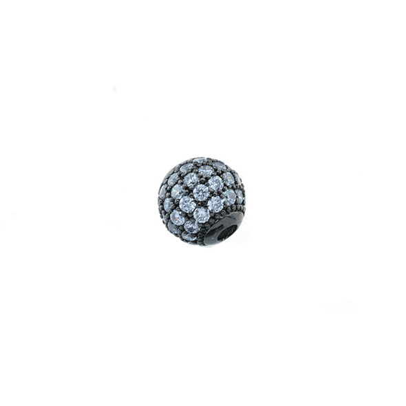 8mm Microset White CZ Round Beads (Black Rhodium Plated)