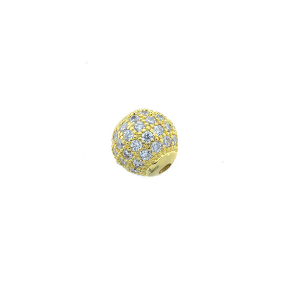 8mm Microset White CZ Round Beads (Gold Plated)