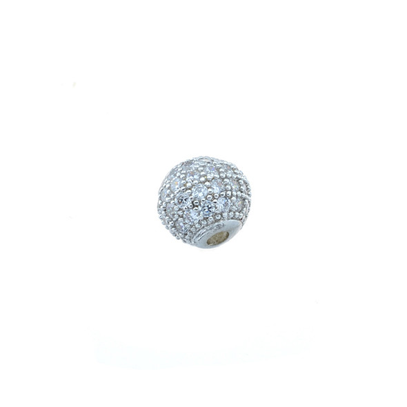 8mm Microset White CZ Round Beads (Rhodium Plated)