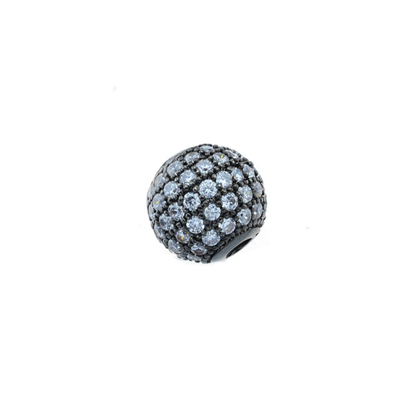 10mm Microset White CZ Round Beads (Black Rhodium Plated)