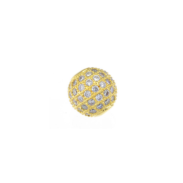 10mm Microset White CZ Round Beads (Gold Plated)