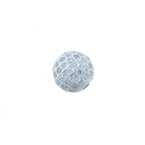10mm Microset White CZ Round Beads (Rhodium Plated)