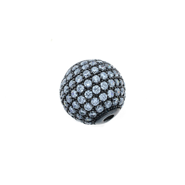 12mm Microset White CZ Round Beads (Black Rhodium Plated)