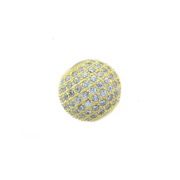 12mm Microset White CZ Round Beads (Gold Plated)