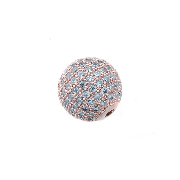 12mm Microset White CZ Round Beads (Rose Gold Plated)