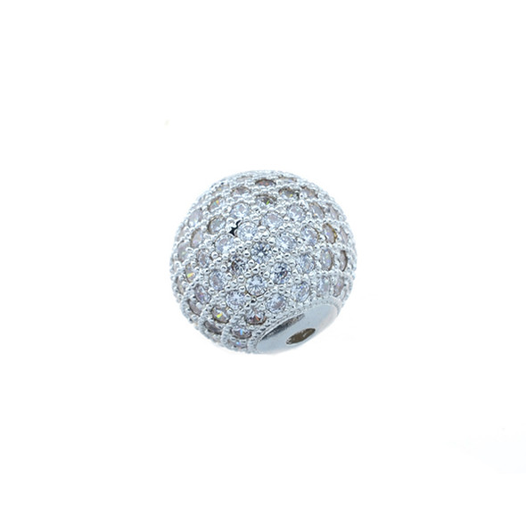 12mm Microset White CZ Round Beads (Rhodium Plated)
