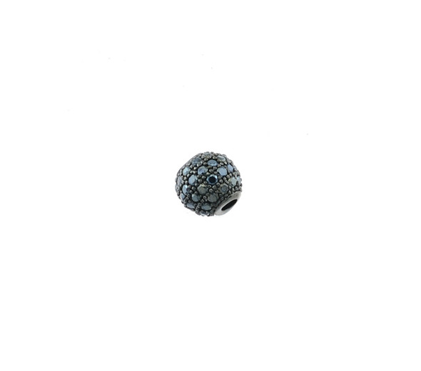 6mm Microset Black CZ Round Beads (Black Rhodium Plated)