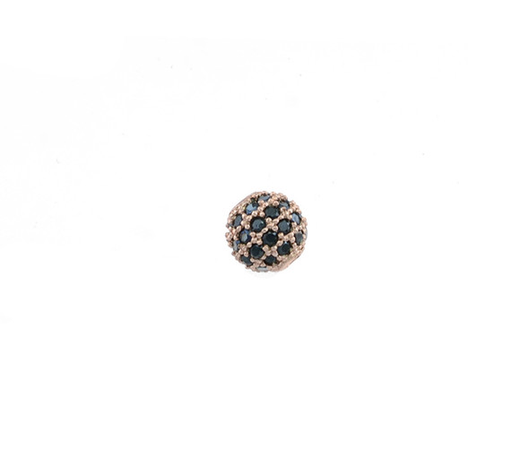 6mm Microset Black CZ Round Beads (Rose Gold Plated)