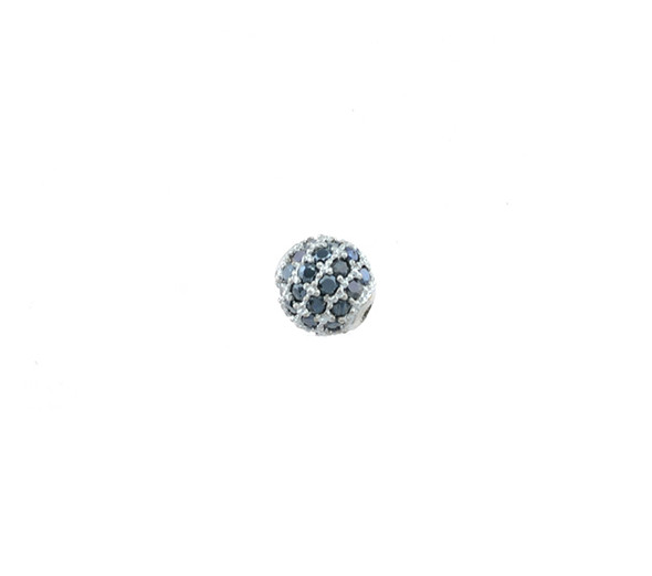 6mm Microset Black CZ Round Beads (Rhodium Plated)