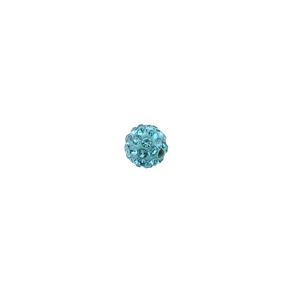 Pave Crystal Beads Aquamarine 6MM - 6/pack